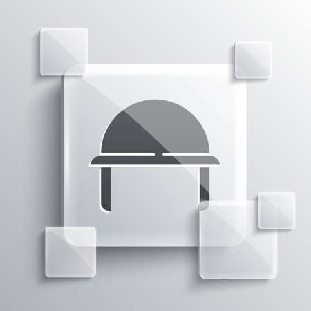 Grey Military helmet icon isolated on grey background. Army hat symbol of defense and protect. Protective hat. Square glass panels. Vector