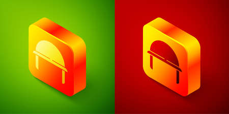 Isometric Military helmet icon isolated on green and red background. Army hat symbol of defense and protect. Protective hat. Square button. Vector Иллюстрация