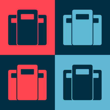 Pop art Police assault shield icon isolated on color background. Vector