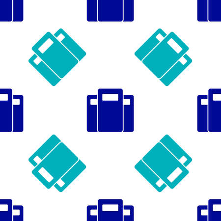 Blue Police assault shield icon isolated seamless pattern on white background. Vector