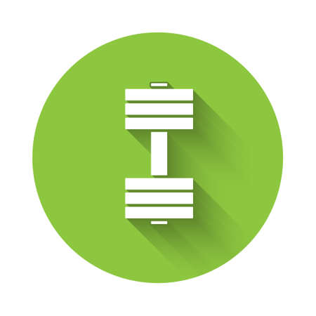 White Dumbbell icon isolated with long shadow. Muscle lifting icon, fitness barbell, gym, sports equipment, exercise bumbbell. Green circle button. Vector Illustration