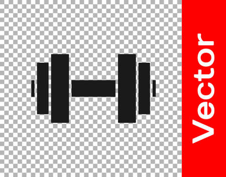 Black Dumbbell icon isolated on transparent background. Muscle lifting icon, fitness barbell, gym, sports equipment, exercise bumbbell. Vector Foto de archivo - 155429359