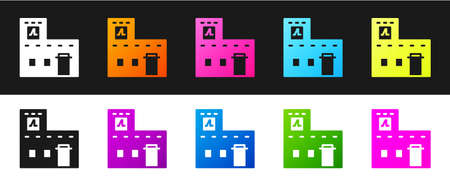 Set Traditional Mexican house icon isolated on black and white background. Vector Foto de archivo - 155429117