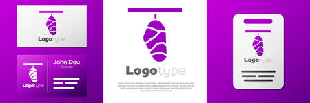 Logotype Butterfly cocoon icon isolated on white background. Pupa of the butterfly. Logo design template element. Vector