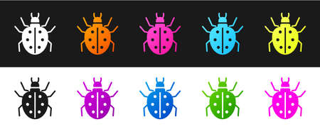 Set Mite icon isolated on black and white background. Vector Vectores