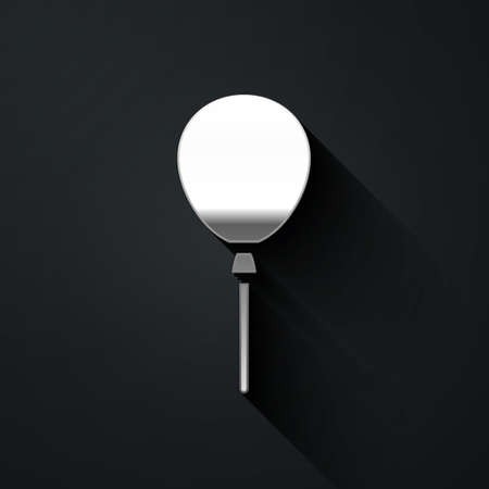 Silver Balloons with ribbon icon isolated on black background. Happy Easter. Long shadow style. Vector Vectores