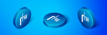 Isometric Basketball backboard icon isolated on blue background. Blue circle button. Vector