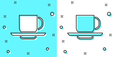 Black line Coffee cup icon isolated on green and white background. Tea cup. Hot drink coffee. Random dynamic shapes. Vector