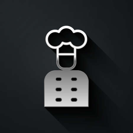 Silver Italian cook icon isolated on black background. Long shadow style. Vector Vectores