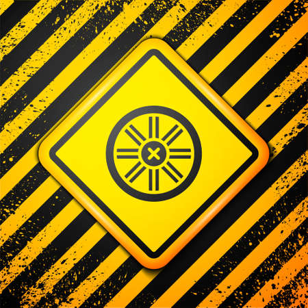 Black Old wooden wheel icon isolated on yellow background. Warning sign. Vector