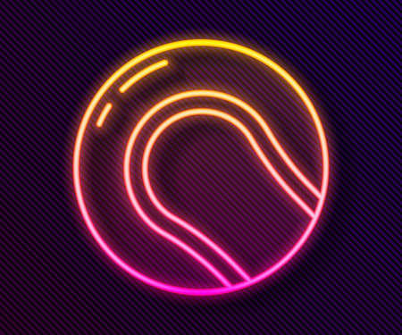 Glowing neon line Baseball ball icon isolated on black background. Vector Illustration