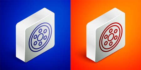 Isometric line Alloy wheel for a car icon isolated on blue and orange background. Silver square button. Vector Illustration