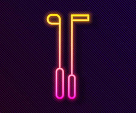 Glowing neon line Golf club icon isolated on black background. Vector Illustration Foto de archivo - 155429007