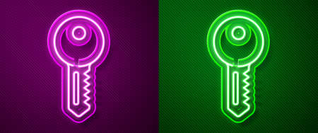 Glowing neon line House key icon isolated on purple and green background. Vector Illustration Vectores