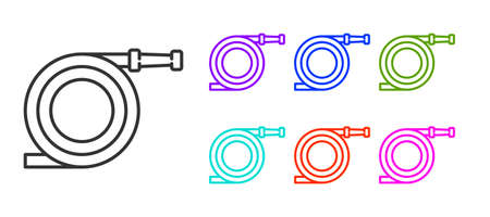 Black line Garden hose or fire hose icon isolated on white background. Spray gun icon. Watering equipment. Set icons colorful. Vector Illustration