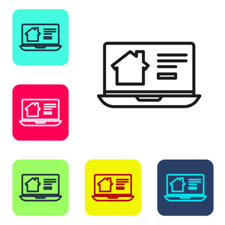 Black line Online real estate house on laptop icon isolated on white background. Home loan concept, rent, buy, buying a property. Set icons in color square buttons. Vector Illustration