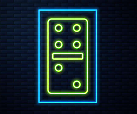 Glowing neon line Domino icon isolated on brick wall background. Vector Illustration Vectores