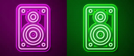 Glowing neon line Stereo speaker icon isolated on purple and green background. Sound system speakers. Music icon. Musical column speaker bass equipment. Vector Illustration Иллюстрация