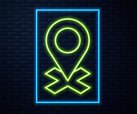 Glowing neon line Map pin icon isolated on brick wall background. Navigation, pointer, location, map, gps, direction, place, compass, search concept. Vector Illustration Illusztráció