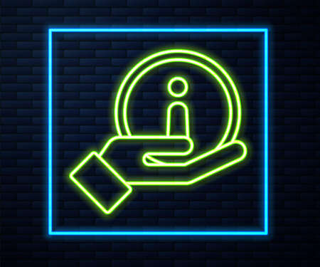 Glowing neon line Information icon isolated on brick wall background. Vector Illustration Vectores