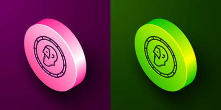 Isometric line Ancient coin icon isolated on purple and green background. Circle button. Vector