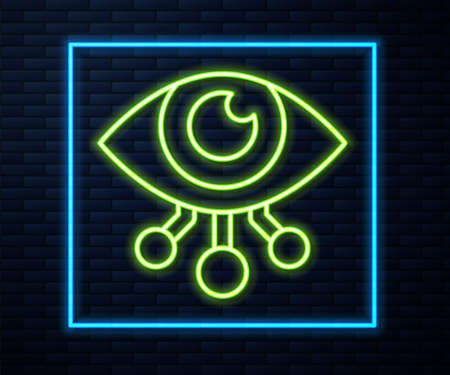 Glowing neon line Eye scan icon isolated on brick wall background. Scanning eye. Security check symbol. Cyber eye sign. Vector