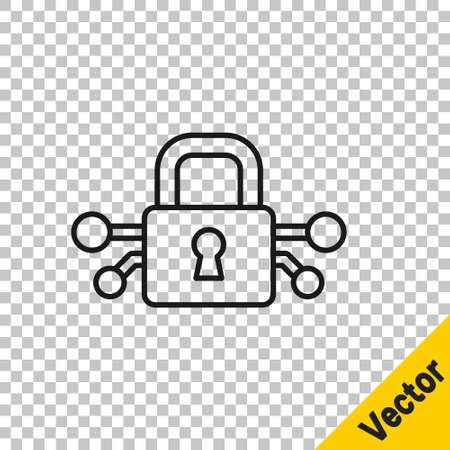 Black line Cyber security icon isolated on transparent background. Closed padlock on digital circuit board. Safety concept. Digital data protection. Vector