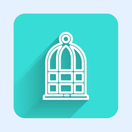 White line Cage for birds icon isolated with long shadow. Green square button. Vector Vectores