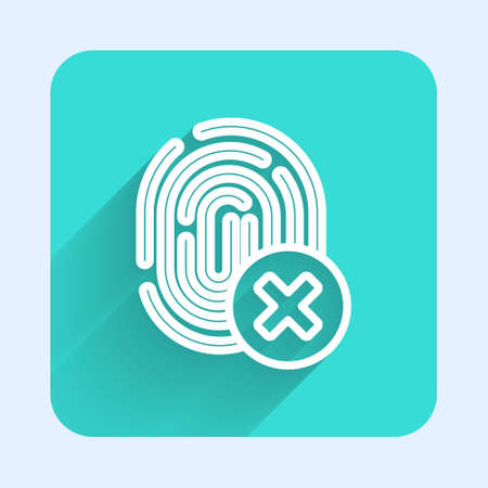 White line Cancelled fingerprint icon isolated with long shadow. Access denied for user concept. Error, fraud. Identification sign. Touch id. Green square button. Vector