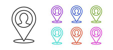 Black line Map marker with a silhouette of a person icon isolated on white background. GPS location symbol. Set icons colorful. Vector