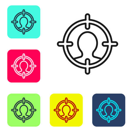 Black line Head hunting icon isolated on white background. Business target or Employment sign. Human resource and recruitment for business. Set icons in color square buttons. Vector Foto de archivo - 155429093