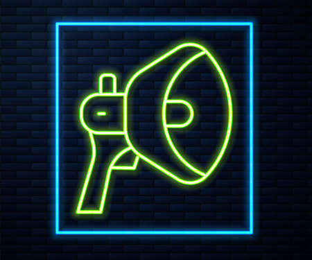 Glowing neon line Megaphone icon isolated on brick wall background. Speaker sign. Vector