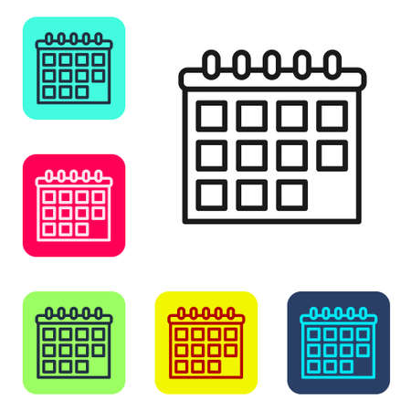 Black line Calendar icon isolated on white background. Event reminder symbol. Set icons in color square buttons. Vector
