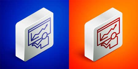 Isometric line Training, presentation icon isolated on blue and orange background. Silver square button. Vector Foto de archivo - 155429110