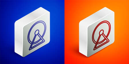 Isometric line Hamster wheel icon isolated on blue and orange background. Wheel for rodents. Pet shop. Silver square button. Vector