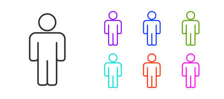 Black line User of man icon isolated on white background. Business avatar symbol user profile icon. Male user sign. Set icons colorful. Vector Vectores