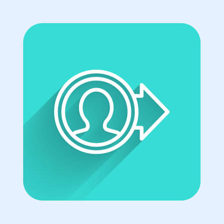 White line Create account screen icon isolated with long shadow. Green square button. Vector