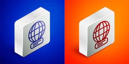 Isometric line Worldwide icon isolated on blue and orange background. Pin on globe. Silver square button. Vector Vectores