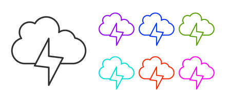 Black line Storm icon isolated on white background. Cloud and lightning sign. Weather icon of storm. Set icons colorful. Vector Foto de archivo - 155429018