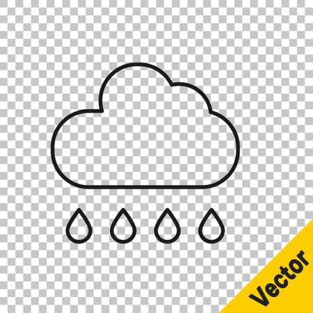 Black line Cloud with rain icon isolated on transparent background. Rain cloud precipitation with rain drops. Vector