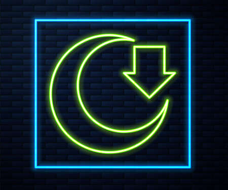Glowing neon line Moon icon isolated on brick wall background. Vector Vectores