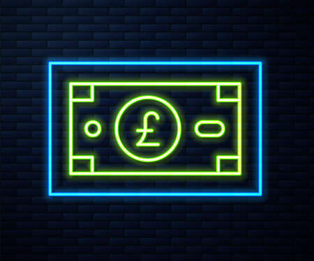 Glowing neon line Pound sterling money icon isolated on brick wall background. Pound GBP currency symbol. Vector Vectores