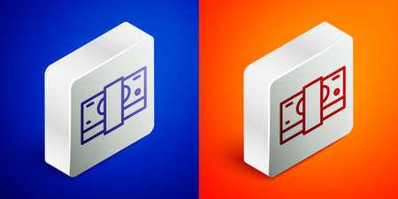 Isometric line Stacks paper money cash icon isolated on blue and orange background. Money banknotes stacks. Bill currency. Silver square button. Vector