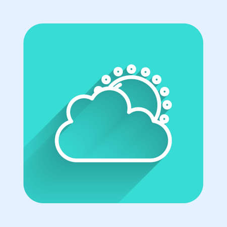 White line Sun and cloud weather icon isolated with long shadow. Green square button. Vector Foto de archivo - 155429000