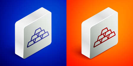 Isometric line Gold bars icon isolated on blue and orange background. Banking business concept. Silver square button. Vector Foto de archivo - 155429281