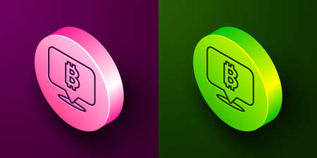 Isometric line Cryptocurrency coin Bitcoin icon isolated on purple and green background. Physical bit coin. Blockchain based secure crypto currency. Circle button. Vector Vectores