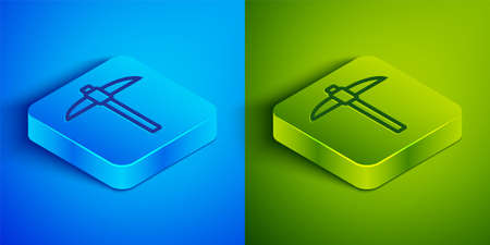 Isometric line Pickaxe icon isolated on blue and green background. Blockchain technology, cryptocurrency mining, bitcoin, digital money market, cryptocoin wallet. Square button. Vector