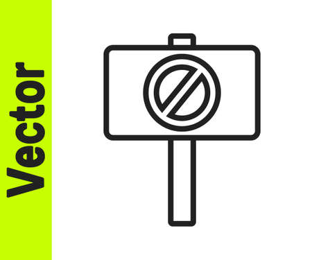 Black line Protest icon isolated on white background. Meeting, protester, picket, speech, banner, protest placard, petition, leader, leaflet. Vector