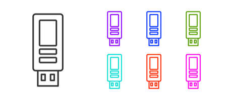 Black line USB flash drive icon isolated on white background. Set icons colorful. Vector Vectores