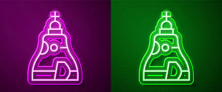 Glowing neon line The Tsar bell in Moscow monument icon isolated on purple and green background. Vector